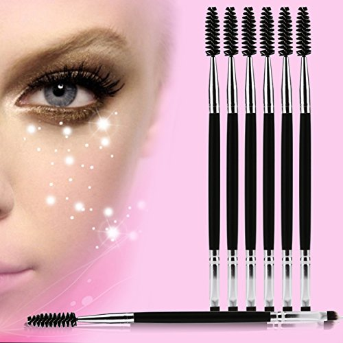 - 6 Pcs Double Ended Wooden Handle Makeup Brush Set Eyebrow Eyelash Mascara Cosmetic Tools Foundation Natural Beauty Palettes Eyeshadow Excellent Popular Eyes Face Hair Highlights Glitter Travel Kit