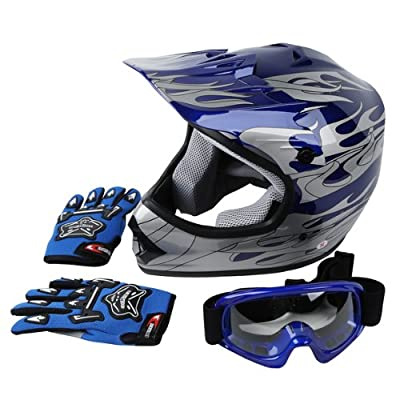 New DOT Approved Youth Blue Flame Dirt Bike ATV MX Motocross Helmet Goggles + Gloves S M L (Large)