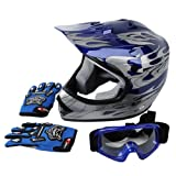 Tengchang Dot Youth & Kids Motocross Offroad Street Helmet Blue Flame Motorcycle Helmet+Goggles+gloves M