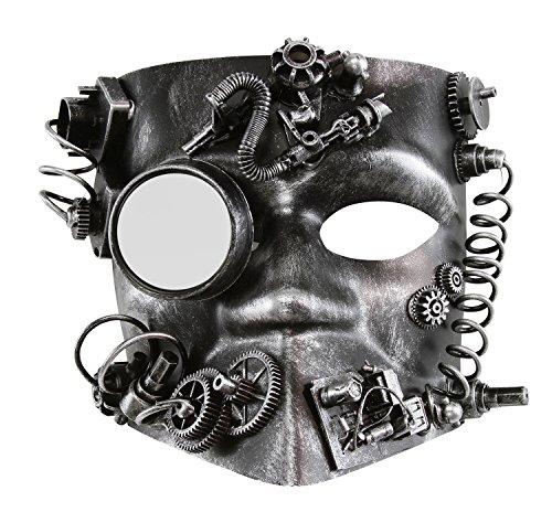 KAYSO INC The Activist Victorian Steampunk Bauta Full Face Masquerade Mask (Rustic Silver) (Victorian Face Masks)