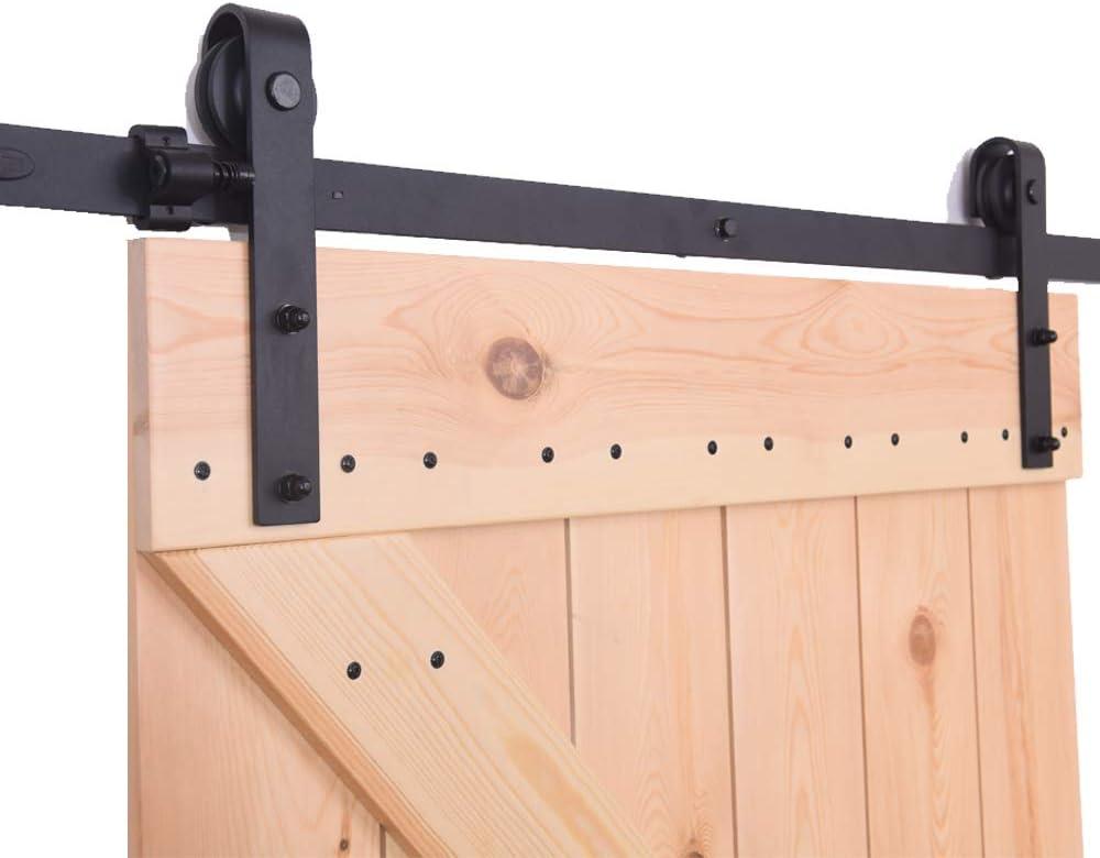 Portes coulissantes Mat/ériel Trousse Unique patin /à roulettes 4FT//121cm Sliding Barn Wood Door Hardware Closet Track Kit Single door