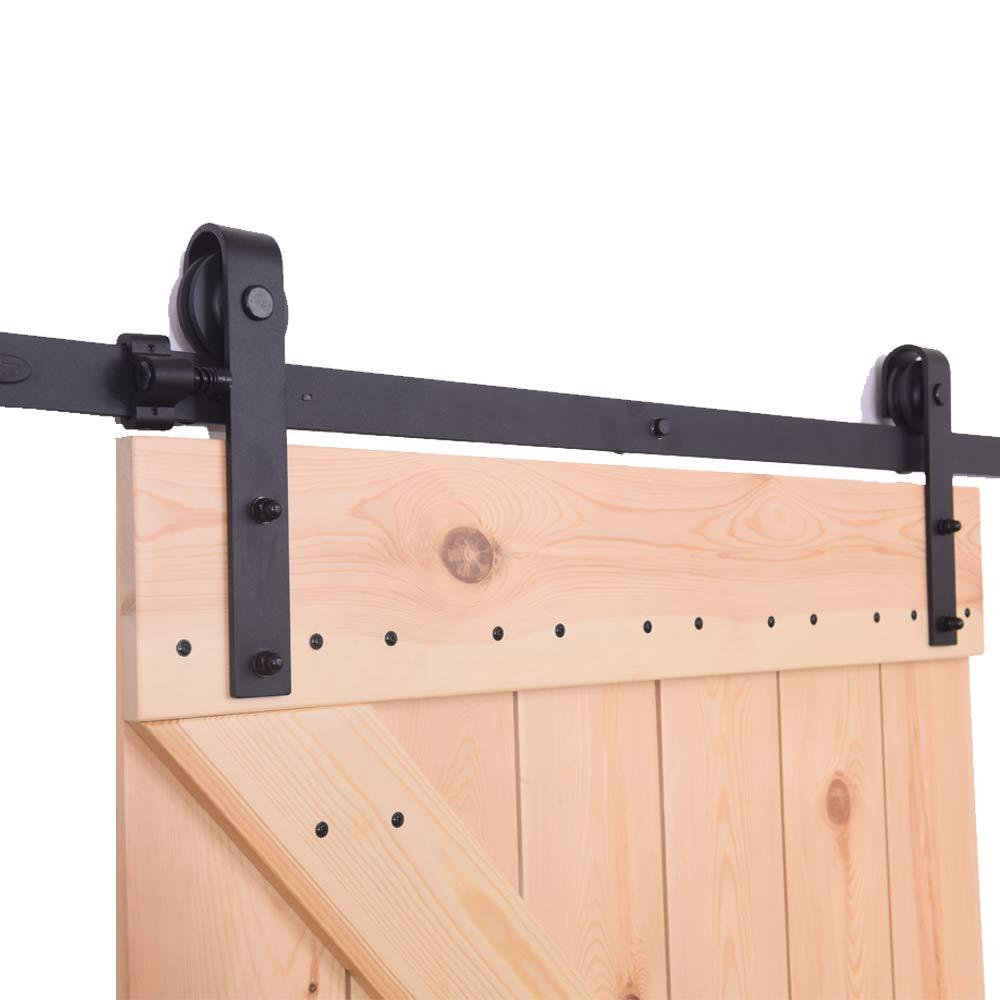 8FT//243CM Systeme Porte Coulissante,Quincailleri Kit de Rail pour Porte Coulissante Ensemble Industriel pour Porte Coulissante Interieur Am/éliorer