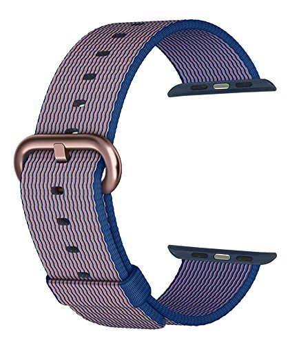 MXY Fine Woven Nylon Replacement Strap Wrist With Rose Gold Metal Buckle Gloden Clasp for 38mm Apple iWatch Series 1 Series 2 (38mm-Royal Blue-Rose Golden Buckle)