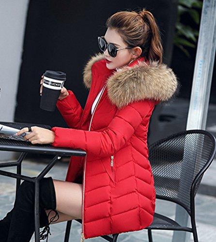 Donna Cappotto Giubbino Imbottito Fit Sintetico Sentao Pelliccia Inverno Lungo Inverno Con Giacca Rosso Slim Cappuccio Rqax05w8