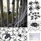 175 Pcs Halloween Spider Decorations - 160pcs Small Spider & 10pcs Medium Spider & 4pcs Big Spider & 1pcs Spider Web Decorations - Halloween Party Favor - Halloween Decorations Outdoor&Indoor