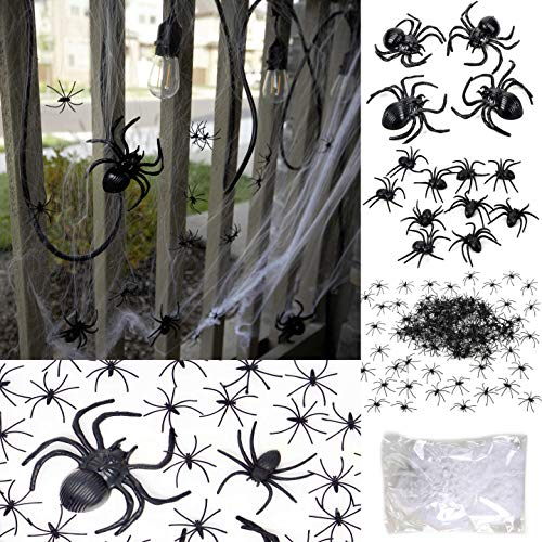 175 Pcs Halloween Spider Decorations - 160pcs Small Spider & 10pcs Medium Spider & 4pcs Big Spider & 1pcs Spider Web Decorations - Halloween Party Favor - Halloween Decorations Outdoor&Indoor -