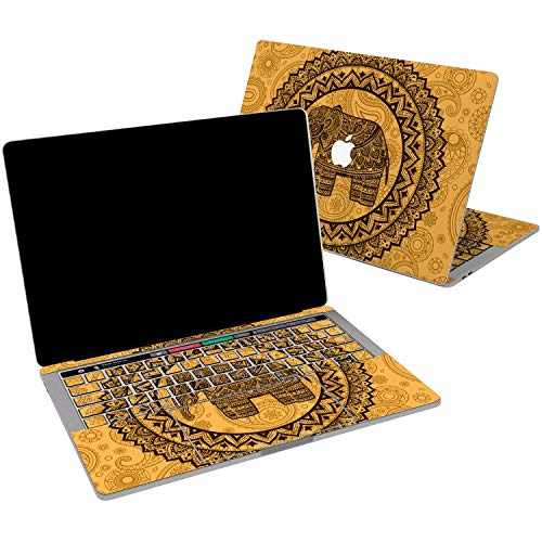 Lex Altern Vinyl Skin for MacBook Air 13 inch Mac Pro 15 Retina 12 11 2019 2018 2017 2016 2015 Yellow Indian Elephant Animal Totem Boho Henna Laptop Cover Keyboard Decal Sticker Touch Bar Designed