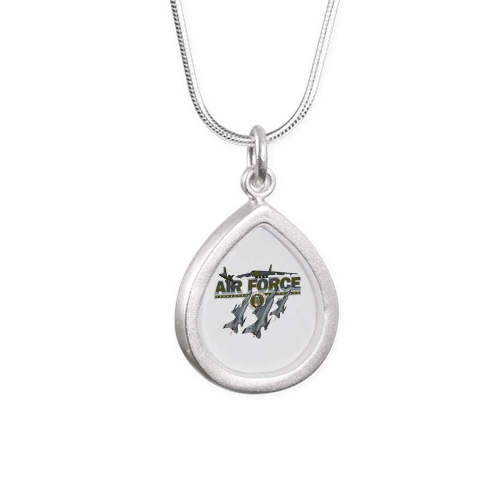 Royal Lion Silver Teardrop Necklace US Air Force Planes Fighter Jets