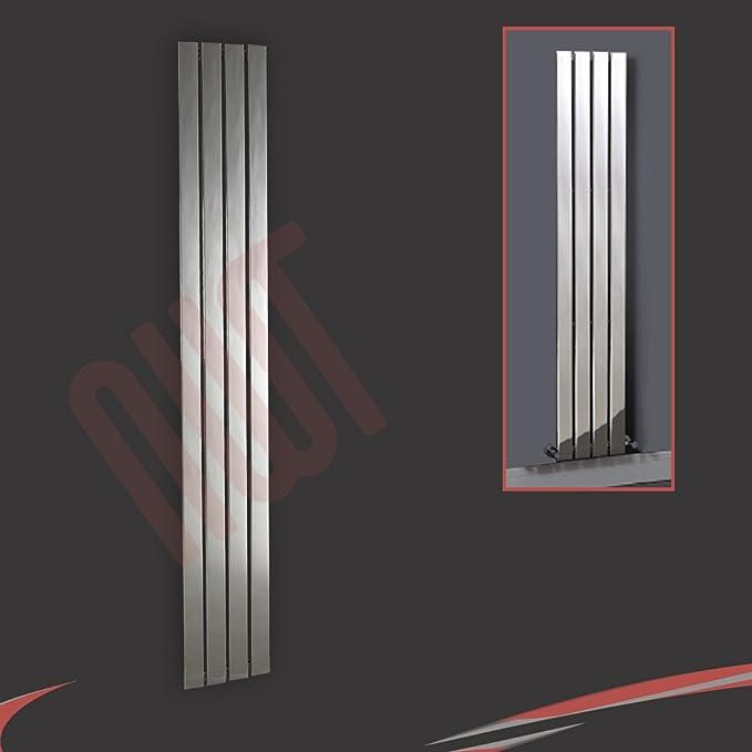 """h 499mm /""""Brecon/"""" Mirror White Designer Vertical Radiator 3953 BTU w x 1800mm"""