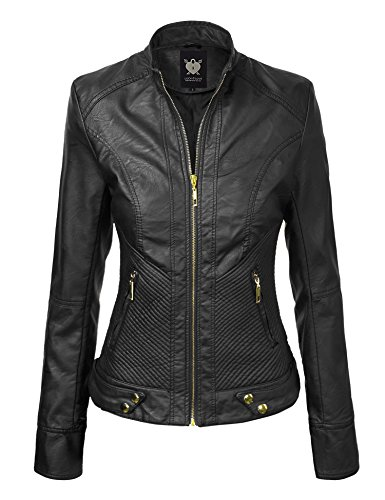 Apparel Biker Leather (WJC747 Womens Dressy Vegan Leather Biker Jacket XL Black)