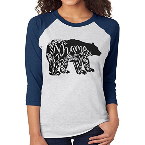 - Spring Floral Mama Bear T-Shirt Printed for Mom 3/4 Sleeve Shirts Tops for Women