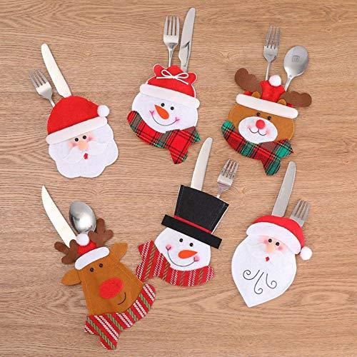 Multicolore Libertroy Contenitori per Posate per Posate di Natale Decorazioni per Posate per coltelli Forchette per Decorazioni Natalizie per Ristorante Party