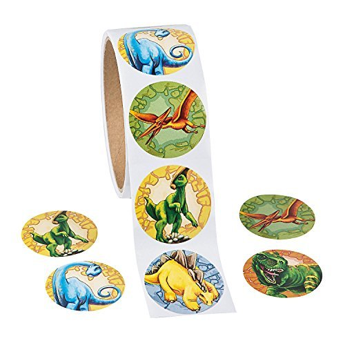 Roll of Dinosaur Stickers (100 Pack) 1 1/2