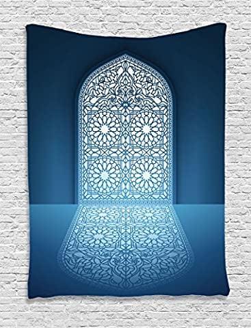 Ambesonne Arabian Decor Collection, Doors of Antique Old Mosque Grace Faith Theme Islamic Eid Ethnic Illustration Print, Bedroom Living Room Dorm Wall Hanging Tapestry, White (Dazzle Them With Grace)