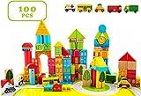 Best Wooden Building Blocks - 100 Piece City Transportation Building Blocks Colored Wooden Review