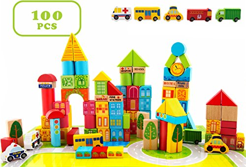 100 Piece City Transportation Building Blocks Colored Wooden Stacking Set Toy For Kids (Wooden Building Toys)