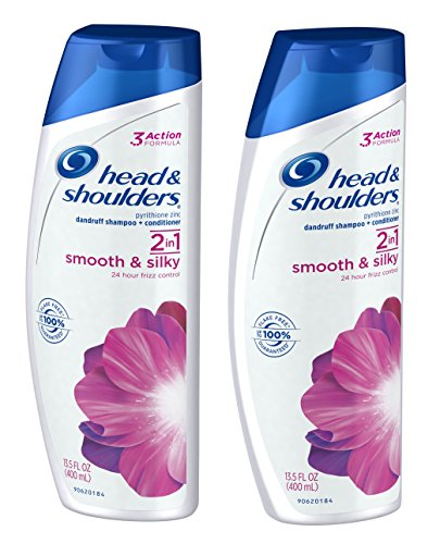 Head & Shoulders 2 In1: Smooth and Silky 24 Hour Frizz Control Dandruff Shampoo & Conditioner - TWO Bottles (13.5 fl oz) (New 24 Hour Daily Moisturizing)