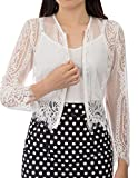 Kate Kasin Women's Juniors Cropped Lace Long Sleeve Top (L,White)