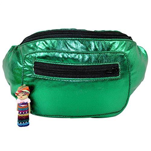 Metallic Chrome Fanny Pack, Boho Chic Handmade w/Hidden Pocket (Green Chrome) by Santa Playa