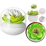 Itian Lotus Fiori Cotton fioc Supporto Conservazione Box Stuzzicadenti Dispenser con Copertura (Verde)