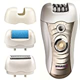 Sminiker Professional 3 in 1 Rechargeable Waterproof Lady Hair Removal Kit ( Bikini Trimmer,Hair Epilator,Callus Remover ) 2 Mode Power Switch Hair Shaver for Arm Underarm Bikini Line & Legs (Gold)