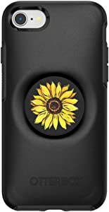 Otter + Pop for iPhone SE, 7 and 8: OtterBox Symmetry Series Case with PopSockets Swappable PopTop - Black and Sunnyside