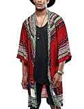 COOFANDY Mens African Dashiki Print Ruffle Shawl Collar Cardigan Lightweight Long Length Drape Cape (X-Large, Red