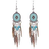 Ginasy Bohemia Spiral Drop Earrings Teardrop Imitation Turquoise Plated Alloy Dangle Earrings (Leaf 1)