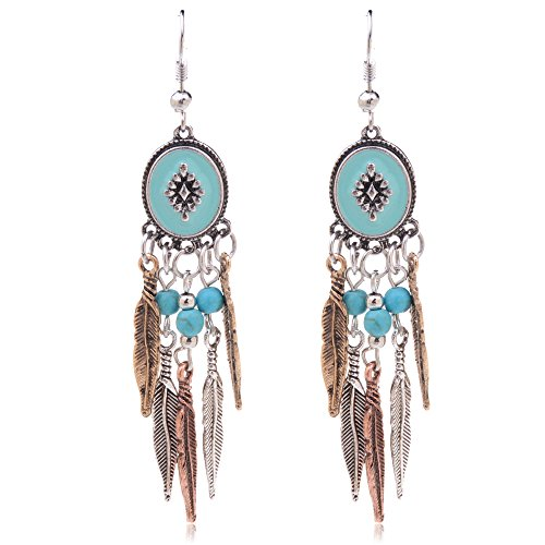 Ginasy Bohemia Spiral Drop Earrings Teardrop Imitation Turquoise Plated Alloy Dangle Earrings (Leaf 1)