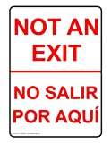 ComplianceSigns Vinyl Not an Exit Label, 7 x 5 in. with English + Spanish, White