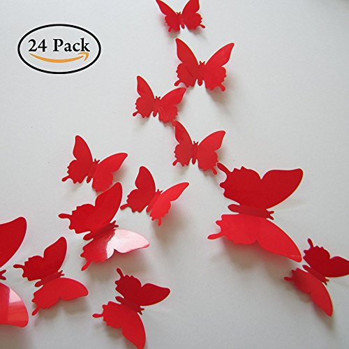 Neele 24pcs 3D Butterfly Removable Mural Stickers Wall Stickers Decal for Home and Room Decoration (red)