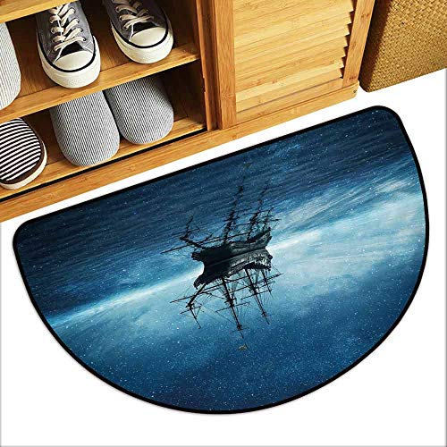 (DILITECK Non-Slip Door mat Pirate Ship Ship on Dark Blue Sea with Starry Night Sky Water Reflection Country Home Decor W36 xL24 Dark Blue Light Blue Black)