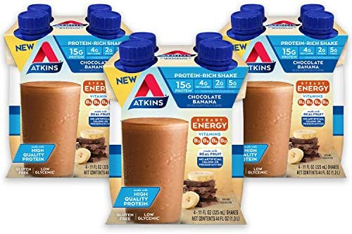 Atkins Chocolate Banana Protein-Rich Shake. With B Vitamins and High-Quality Protein. Made with Real Fruit. Keto-Friendly and Gluten Free, 11 Fl Oz (Pack of 12) 1