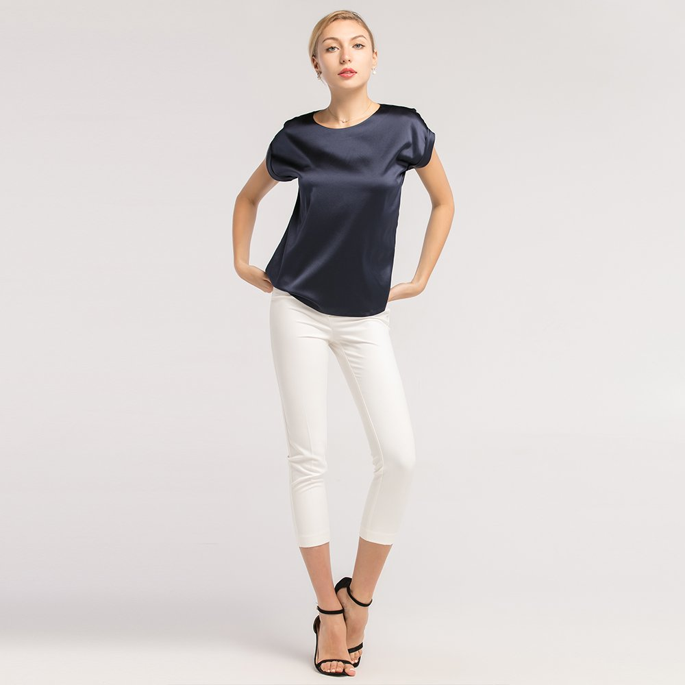 25fadc8297 LilySilk Silk T Shirt for Women Short Sleeves Round Neck Pure Mulberry Silk  19MM Simple Basic Tops Summer at Amazon Women s Clothing store
