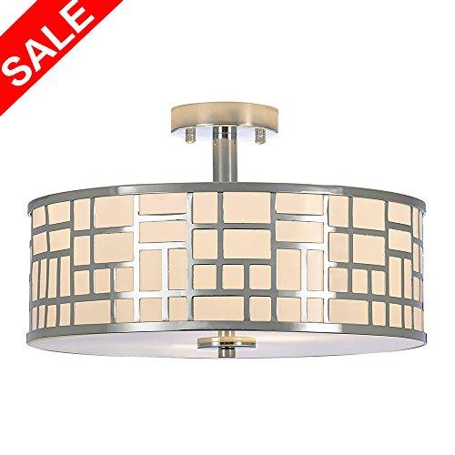 POPILION 2 Light Chrome Finish Flush Mount Chandelier Ceiling Light,Tempered Glass Ceiling Lamp