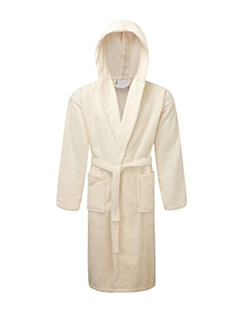 Rohi Mens   Womens Egyptian Collection Luxury Hooded Towelling Dressing  Gown Bathrobe (Cream) 670d37eb7