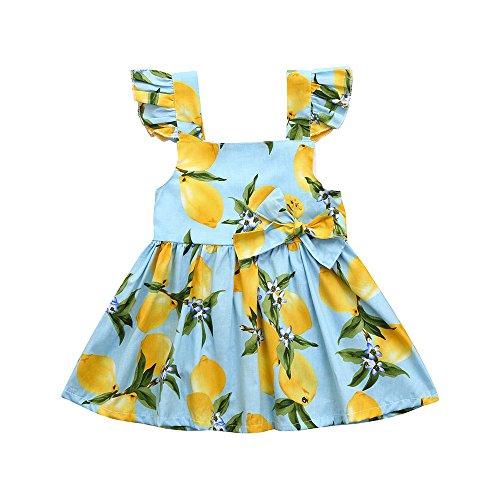 Skirt Girls Toddler Kids Baby Infant Dresses Ruffle Short Sleeve Print Bowknot Princess Casual Brief Set (Size:3T, Sky ()
