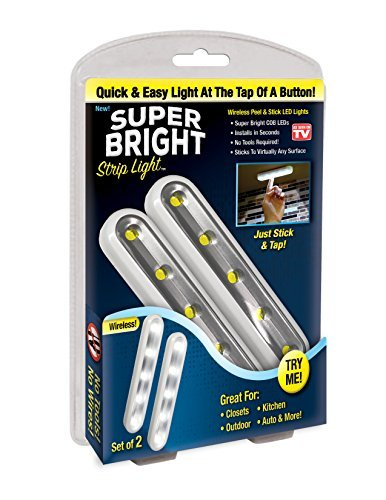 Super Bright Strip Light: 2 Pack Wireless Peel and Stick LED Lights - Tap Light, Touch, Night, Utility, Battery Operated, Under Cabinet, Shed, Kitchen, Garage, Basement (2-Pack)