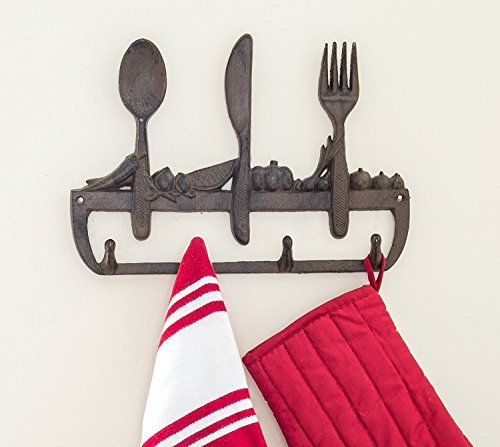 """Cast Iron Wall Hanger For Kitchen - Old Fashioned Spoon, Knife and Fork with 3 Hooks - Decorative Cast Iron Kitchen Storage Towel Rack -11.8 x 8"""" With Screws And Anchors By Comfify - CA-1504-23-BR"""