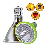 Sparkzoo Carbon Fiber Far Infrared Heating Lamp Light Bulb 75W Infrared Heat Emitter for Reptiles, Chicks, Hermit Crabs, Terrariums, Pet Brooders, Coops (50W)
