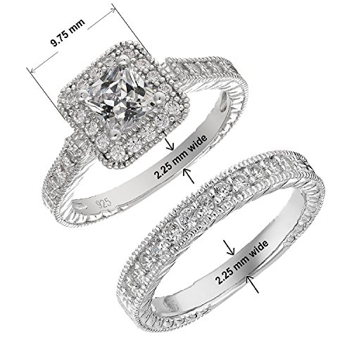 Mars wings Sterling Silver Platinum-Plated Elegant Cut CZ Diamond Engagement Wedding Ring Set 2pcs(New) by Mars wings (Image #1)