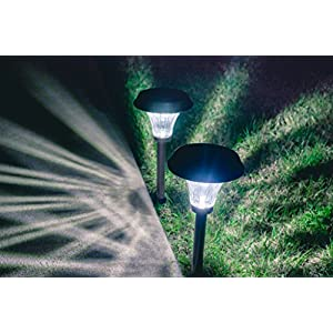Grant Park 2-Pack Premium Ultra Bright 30 Lumens Premium Metal LED Solar Lights for Outdoor Landscape Yard Pathway Garden Lighting