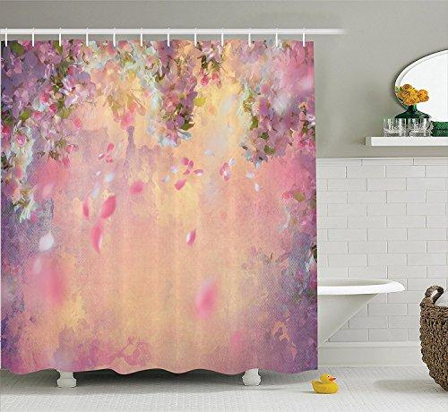 [House Decor Shower Curtain Set Cherry Tree Blossom Cheerful Childish Fun Cartoon Art Garden in Sakura Season Bathroom Accessories Pink Green] (The Pope Costume At The White House)