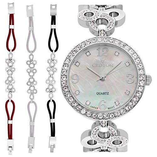 CROTON Women's Bracelet Set Quartz Watch with Stainless-Steel Strap, Silver, 18.75 (Model: CN407567RHMP)