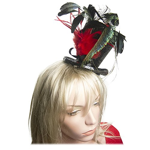 Top Hat Fascinators (Black Glitter Mini Top Hat Peacock Feather Fascinator Hair Clip in Red)