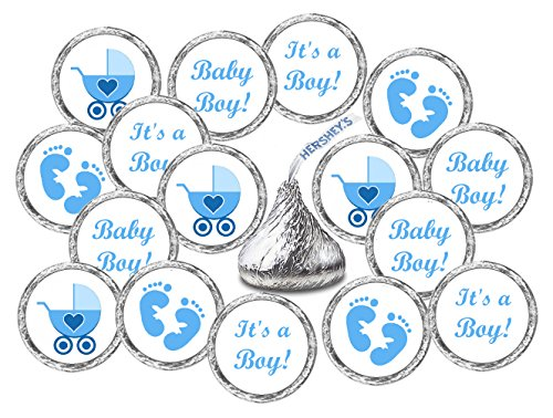 324 Blue Its a Boy Baby Shower Favors Stickers For Baby Shower Or Baby Sprinkle Party, Baby Shower Kisses Stickers, Baby Shower Blue Favors, Baby Shower Labels, Its a Boy Kisses -