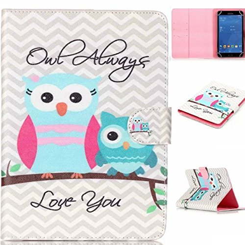 """Polaroid 7"""" Tablet Case,[Owl Love You] Universal Magnetic Wallet PU Leather Stand Case Cover with Built In Card Slots for Polaroid P700BK Quad-Core 7 Inch"""