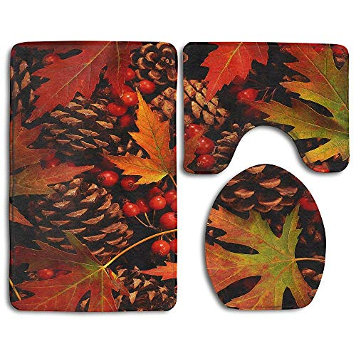 Bath Mat Sets Colorful Pinecone Contour Rug U-Shaped Toilet Lid Cover,Non Slip,Machine Washable,3-Piece Rug Set Easier to Dry for Bathroom