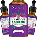 Hemp Oil 7500 mg for Pain Relief, Relaxation, Better Sleep, All Natural, Pure Extract, Vegan Friendly