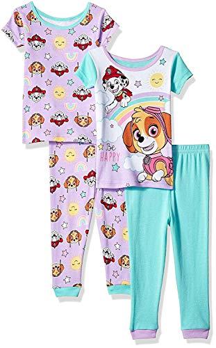 (Nickelodeon Girls' Toddler Paw Patrol 4-Piece Cotton Pajama Set, Puppy Purple)